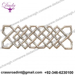 Celtic Knot Hand-Embroidered Bullion Applique Silver