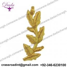 Cheap Custom Army School Blazer Bullion Wire Patches Hand Embroidery Leaf Shape Badge