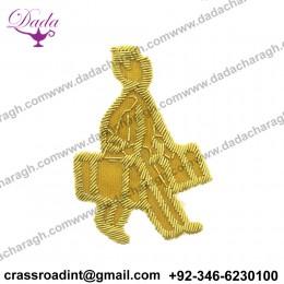 Cheap Custom Cartoon Kid's Dress Shoes Cap Accessories Flowers Animal Patch Indian Bullion Wire Badge