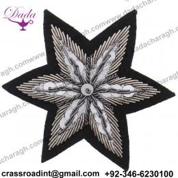 Cheap Custom Handmade Bullion Wire Sequins Star Embroidered Badges