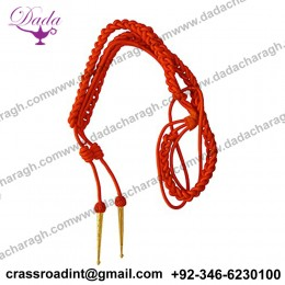 Aiguillette in Orange Silk with Silver Tags for Army, Air Force or Navy