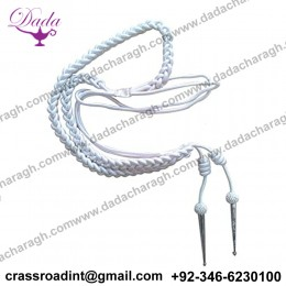 Aiguillette in White Silk with Silver Tags for Army, Air Force or Navy