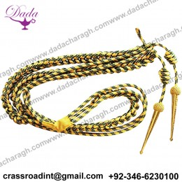 Aiguillette, Gold Wire Bullion and Green Cord, With Gold Tags, Right Sided