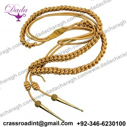 Aiguillette, Gold Wire Bullion Cord, With Gold Tags, Right Sided