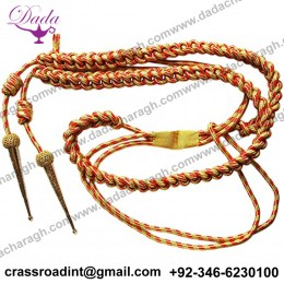 Aiguillette, Mylar Gold and Red Cord, With Gold Tags, Right Sided