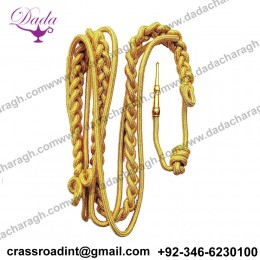 ARMY Shoulder AIGUILLETTE Cord Citation With Brass Tip - GOLD