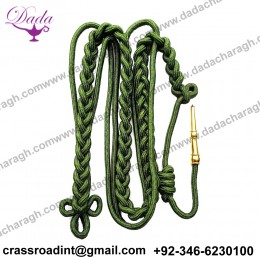 ARMY Shoulder AIGUILLETTE Cord Citation With Brass Tip - GREEN